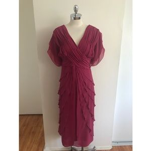 Roaman's Tiered Wine Plus Size Sleeveless Dress